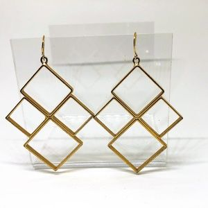 Geometric Diamonds Squares Gold tone P Earrings